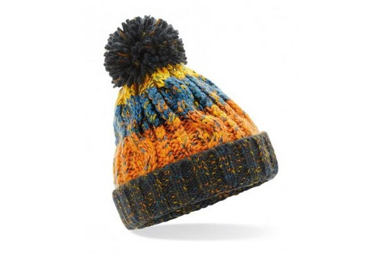 Beechfield Junior Corkscrew Pom Pom Beanie (Retro Blues) (One Size)