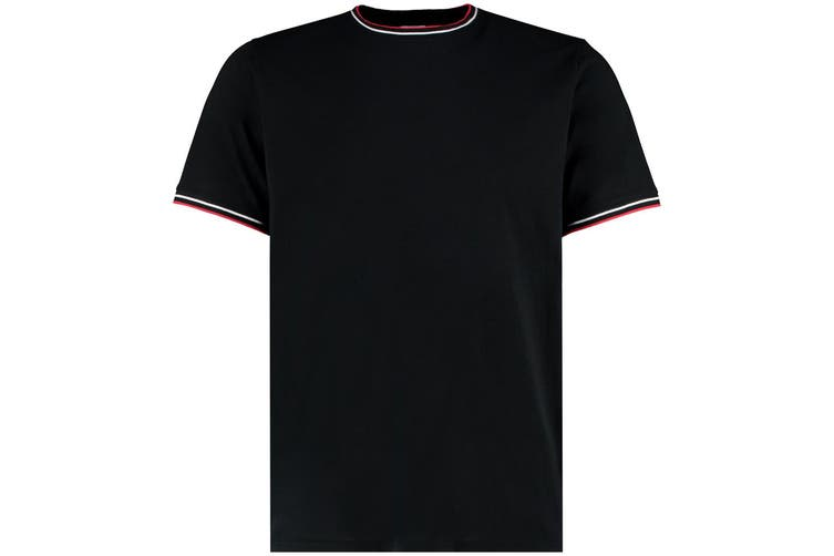 Kustom Kit Mens Fashion Fit Tipped T-Shirt (Black/White/Red) (M)
