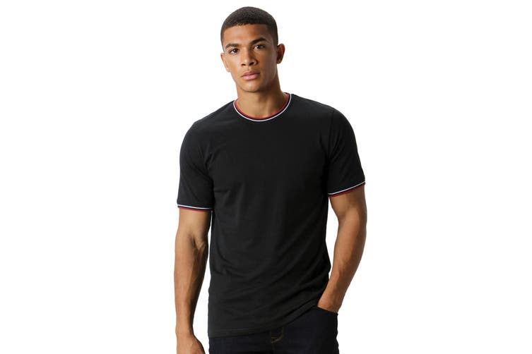 Kustom Kit Mens Fashion Fit Tipped T-Shirt (Black/White/Red) (XXL)