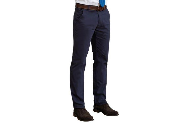 Brook Taverner Mens Miami Slim Fit Chino Trousers (Navy) (32R)