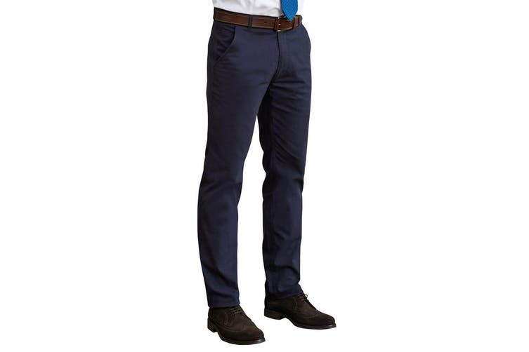 Brook Taverner Mens Miami Slim Fit Chino Trousers (Navy) (36R)