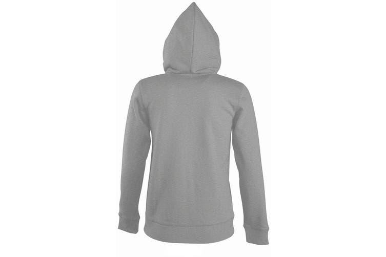 SOLS Womens/Ladies Seven Full Zip Hooded Sweatshirt / Hoodie (Grey Marl) (XL)