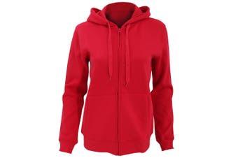 SOLS Womens/Ladies Seven Full Zip Hooded Sweatshirt / Hoodie (Red) (M)