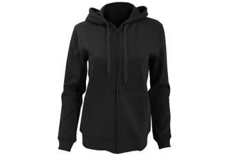 SOLS Womens/Ladies Seven Full Zip Hooded Sweatshirt / Hoodie (Black) (M)