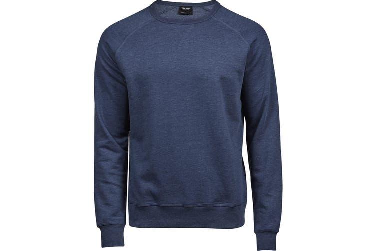 Tee Jays Mens Vintage Lightweight Raglan Sweatshirt (Denim Blue Melange) (L)