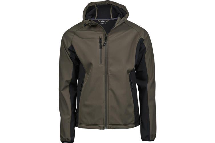 Tee Jays Mens Lightweight Performance Hooded Soft Shell Jacket (Olive Green/Black) (M)