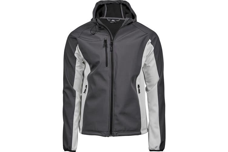 Tee Jays Mens Lightweight Performance Hooded Soft Shell Jacket (Dark Grey/Off White) (M)