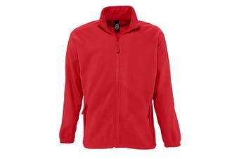 SOLS Mens North Full Zip Outdoor Fleece Jacket (Red) (S)