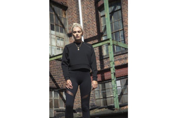 Tombo Womens/Ladies Cropped Sweatshirt (Black) (XL)