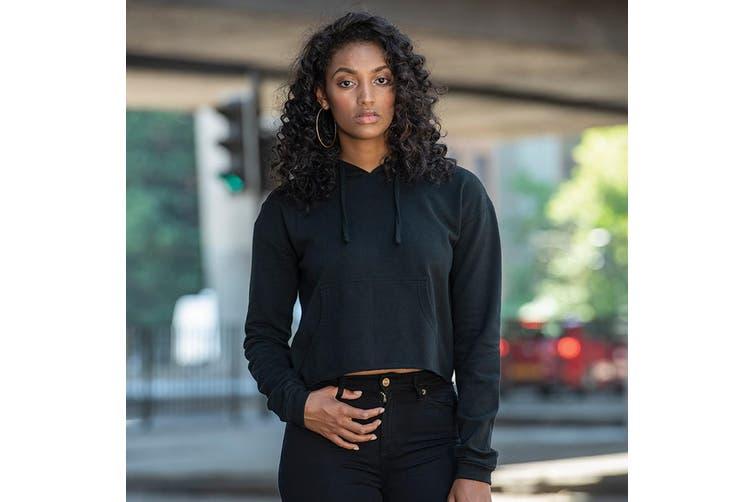 AWDis Just Hoods Womens/Ladies Girlie Cropped Hoodie (Jet Black) (S)