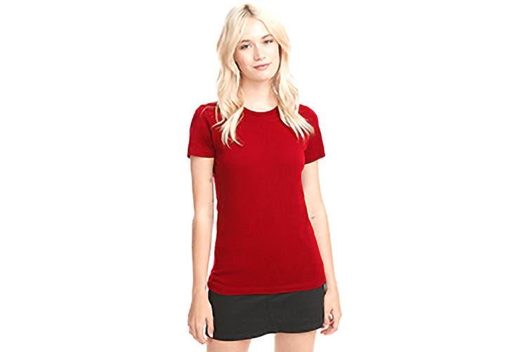 Next Level Womens/Ladies Boyfriend T-Shirt (Red) (L)