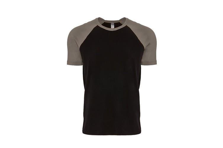 Next Level Adults Unisex Contrast Cotton Raglan T-Shirt (Warm Grey/Black) (XS)