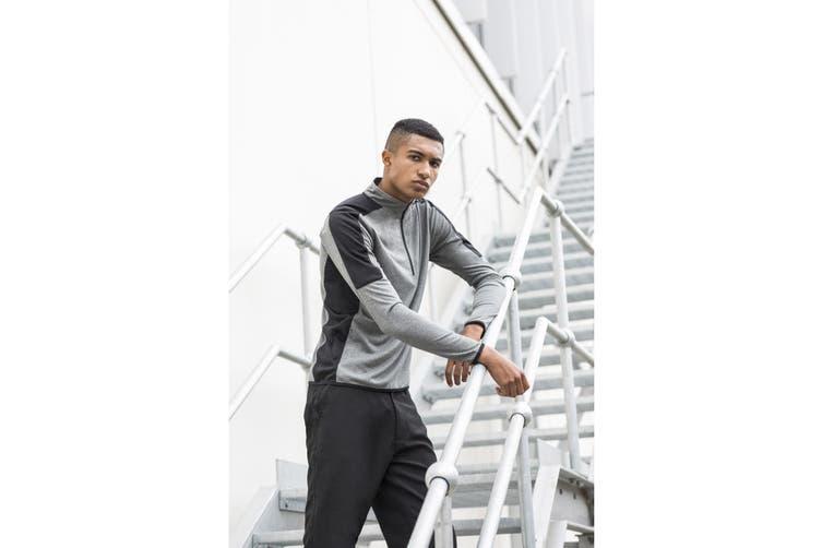 Finden & Hales Mens Contrast Zip Neck Midlayer Top (Grey Marl/Black) (XXL)
