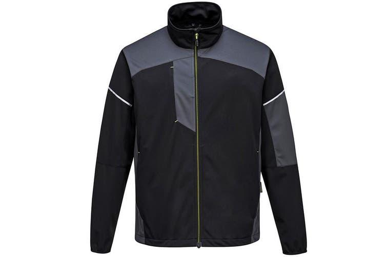 Portwest Mens PW3 Flex Shell Jacket (Black/Zoom Grey) (L)