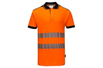 Portwest Mens PW3 Hi-Vis Polo Shirt (Orange/Black) (XXL)
