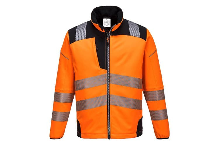 Portwest Mens PW3 Hi-Vis Soft Shell Jacket (Orange/Black) (L)