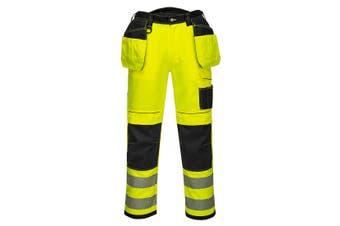 Portwest Mens PW3 Hi-Vis Trousers (Yellow/Black) (34R)