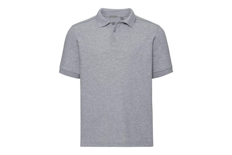 Russell Mens Tailored Stretch Pique Polo Shirt (Light Oxford Grey) (3XL)