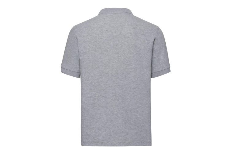 Russell Mens Tailored Stretch Pique Polo Shirt (Light Oxford Grey) (XL)