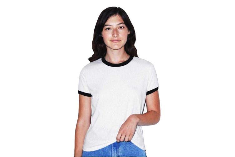 American Apparel Ladies Poly/Cotton Ringer T-Shirt (White/Black) (M)