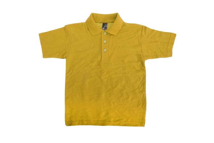 SOLS Kids Unisex Summer II Pique Polo Shirt (Gold) (12yrs)