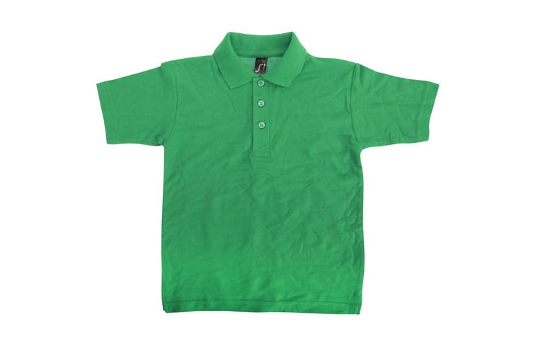 SOLS Kids Unisex Summer II Pique Polo Shirt (Kelly Green) (12yrs)