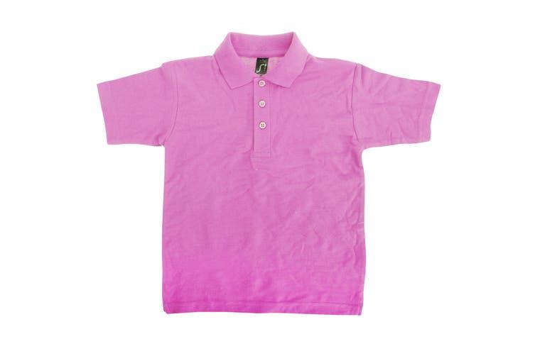 SOLS Kids Unisex Summer II Pique Polo Shirt (Pink) (12yrs)