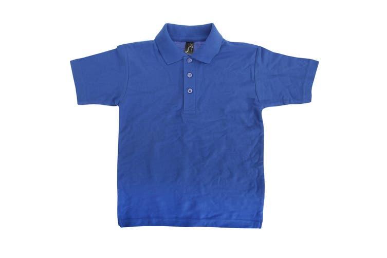 SOLS Kids Unisex Summer II Pique Polo Shirt (Royal Blue) (6yrs)