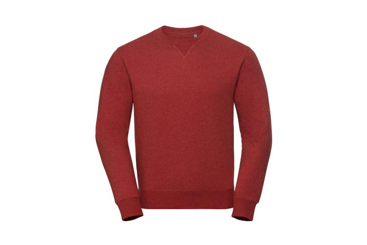 Russell Mens Authentic Melange Sweatshirt (Brick Red Melange) (3XL)