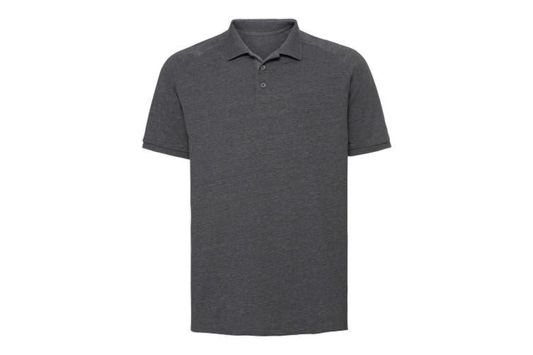 Russell Mens HD Raglan Jersey Polo Shirt (Grey Marl) (L)