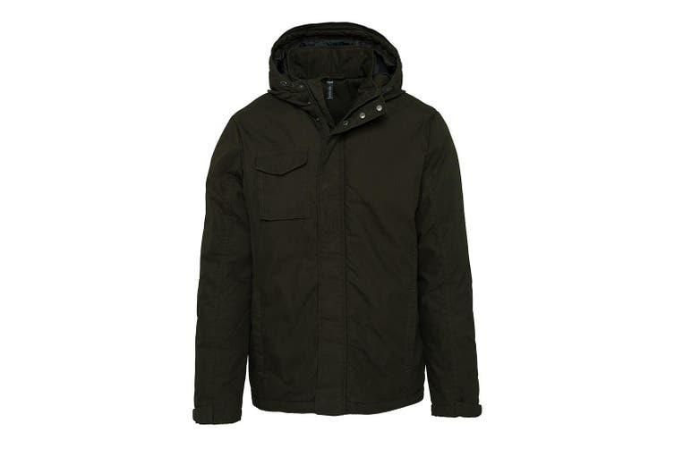 Kariban Adults Unisex Hooded Parka Jacket (Dark Khaki) (M)