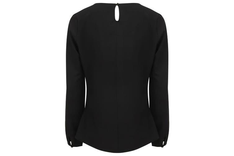 Henbury Womens/Ladies Pleat Front Long Sleeve Blouse (Black) (XS)