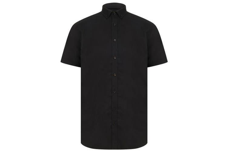 Henbury Mens Modern Short Sleeve Oxford Shirt (Black) (L)