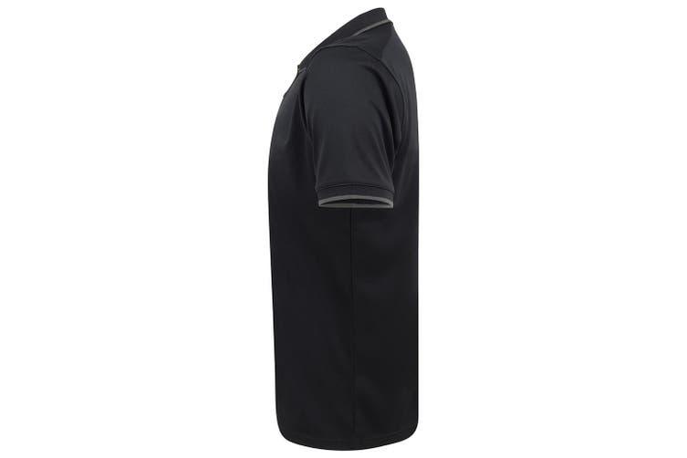 Henbury Mens HiCool Tipped Polo Shirt (Navy/Charcoal) (L)