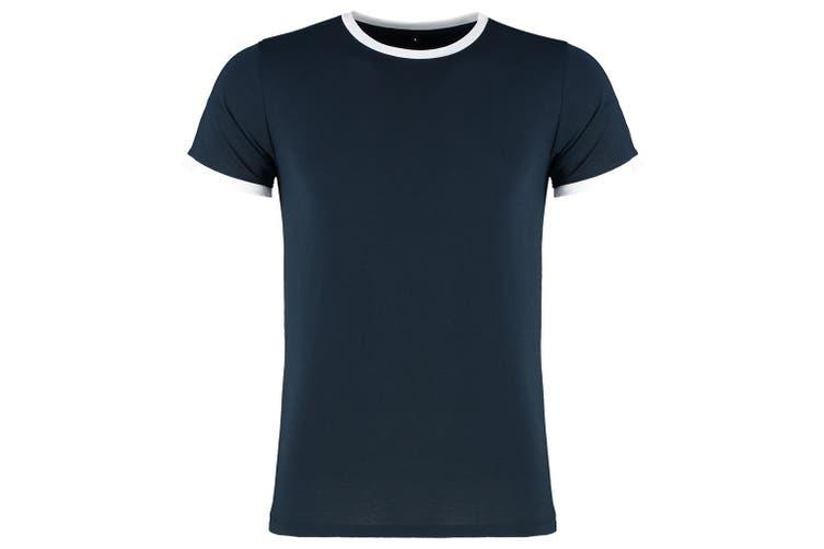 Kustom Kit Mens Fashion Fit Ringer T-Shirt (Navy/White) (M)