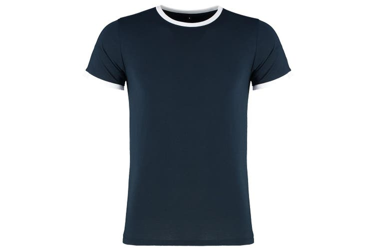 Kustom Kit Mens Fashion Fit Ringer T-Shirt (Navy/White) (XXL)