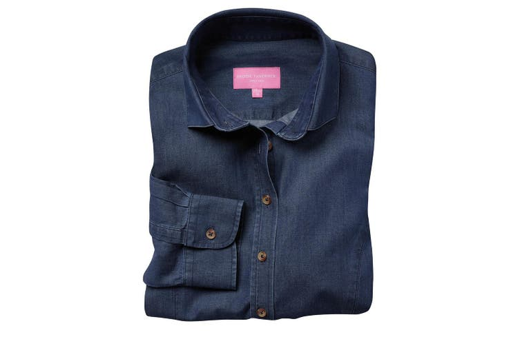 Brook Taverner Womens/Ladies Banff Long Sleeve Chambray Shirt (Denim) (18 UK)
