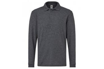 Fruit Of The Loom Childrens/Kids Long Sleeve Pique Polo Shirt (Dark Heather) (9-11 Years)