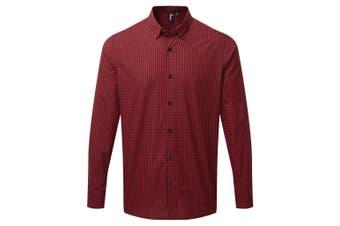 Premier Mens Maxton Check Long Sleeve Shirt (Black/Red) (XXL)
