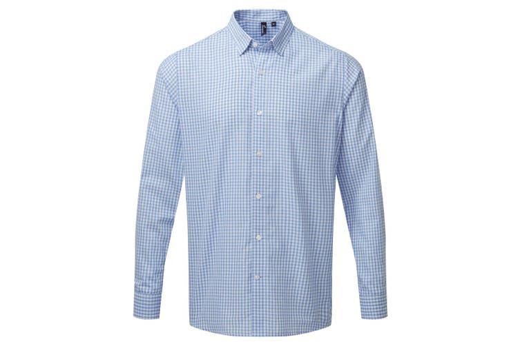 Premier Mens Maxton Check Long Sleeve Shirt (Light Blue/White) (L)