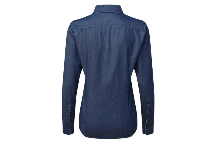 Premier Womens/Ladies Long Sleeve Denim-Pindot Shirt (Indigo) (XS)