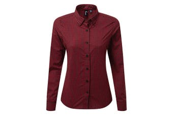 Premier Womens/Ladies Maxton Check Long Sleeve Shirt (Black/Red) (M)