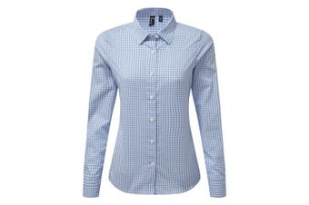 Premier Womens/Ladies Maxton Check Long Sleeve Shirt (Light Blue/White) (S)