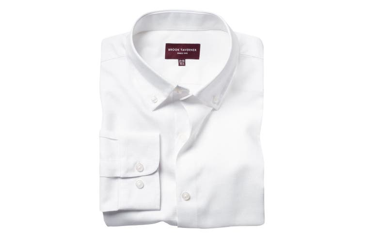 Brook Taverner Mens Toronto Long Sleeve Oxford Shirt (White) (17.5 UK)