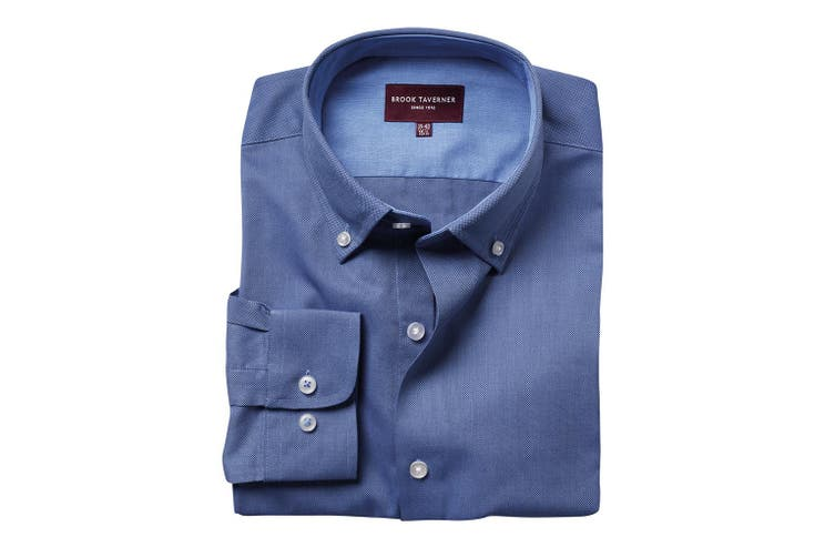 Brook Taverner Mens Toronto Long Sleeve Oxford Shirt (Blue) (18 UK)