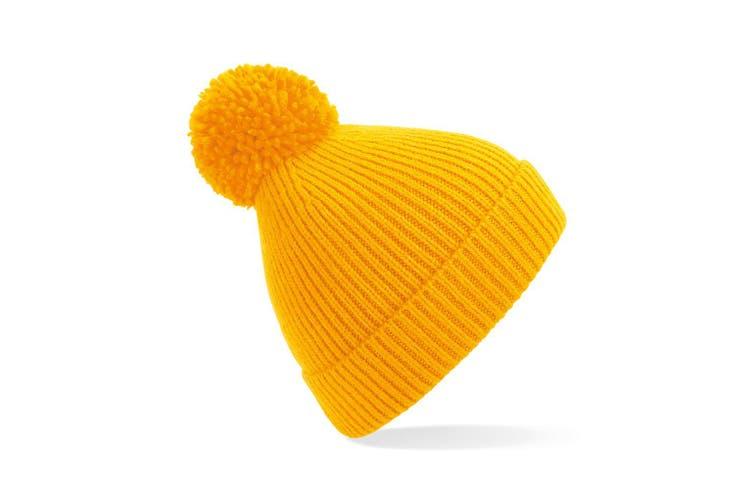 Beechfield Engineered Knit Ribbed Pom Pom Beanie (Sun Yellow) (One Size)