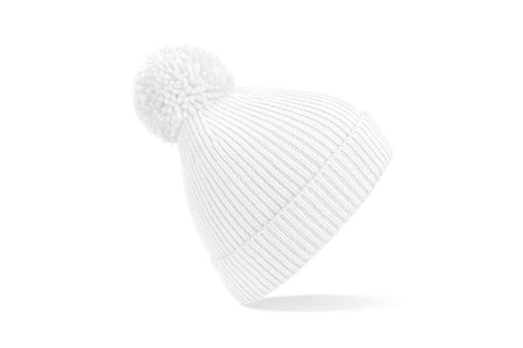 Beechfield Engineered Knit Ribbed Pom Pom Beanie (White) (One Size)