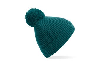 Beechfield Engineered Knit Ribbed Pom Pom Beanie (Ocean Green) (One Size)