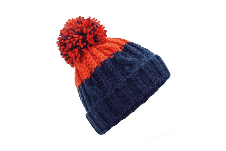 Beechfield Apres Beanie (Oxford Navy/Fire Red) (One Size)