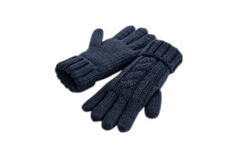Beechfield Cable Knit Melange Gloves (Navy) (S/M)